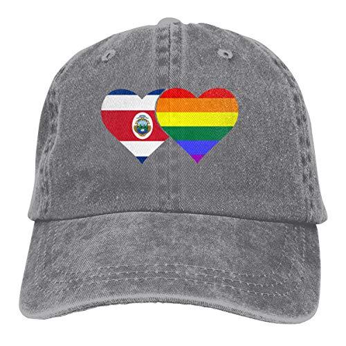 Costa Rica Flag LGBT Flag Denim Hat Adjustable Plain Cap Baseball Caps