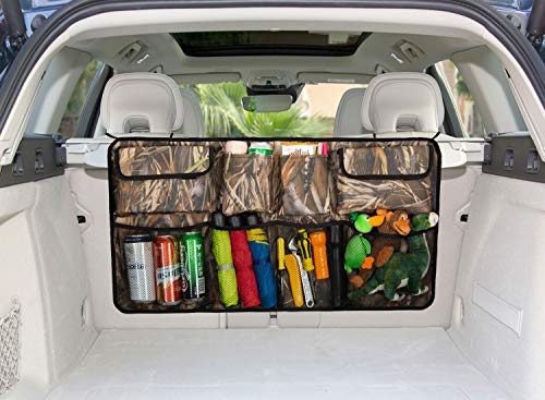 TPYQdirect Car Trunk Organizer with Lid Foldable Backseat Organizer Space Saving Flat Trunk Storage 600D Oxford with Adjustable Straps for Car SUV Vans Hatchbacks or More, Camouflage