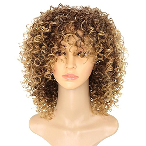 Curl Womens Wig - Doren Loose Curls Synthetic Wigs for Women Machine Made Short Curly Hair with Bangs Ombre Brown/Dark Blond
