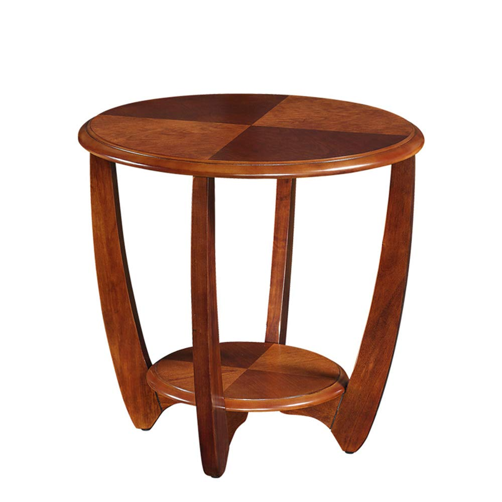 Wynzybz solid wood sofa side table corner living room small round table small coffee table simple round side table bedroom small table color walnut