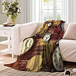 Falltravel blanketDifferent Colored Dry Maple Leaves and Various Alarm Clocks on Wooden Planks Printthrow Blanket for Couch 62x60 Multicolor