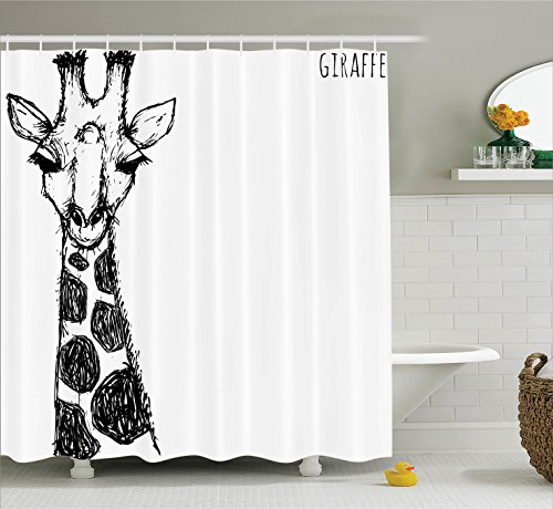 African Giraffe (House Decor Shower Curtain Set by Ambesonne, Cute Graphic of Safari Giraffe with His Tall Neck and Spots West African Wild Character, Fabric Bathroom Decor with Hooks, 70 Inches, Black White)