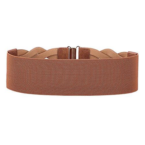 Fashion Wide Belt Braided Leatherette Women Cinch Belt (Brown, M) by PAUL JONES (Image #1)