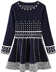 CHENXIN Little Girls Winter Knit Sweater Dresses