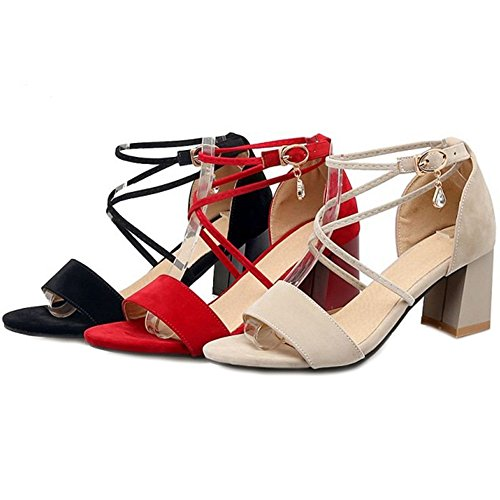 SJJH Fashion Ladies with and Cross Chunky Suede Black Materail Heel Women Office and Straps Sandals for rqxr1v