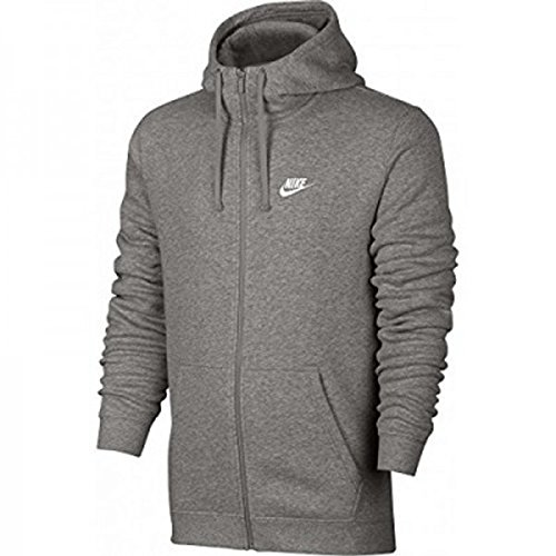 (Nike Men's Club Swoosh Full-Zip Hoodie Grey Heather Size Medium)