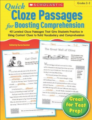 Quick Cloze Passages for Boosting Comprehension, Grades 2-3 [ Quick Cloze Passages for Boosting Comprehension, Grades 2-3 by Baicker, Karen ( Author ) Paperback Jan- 2012 ] Paperback Jan- 01- 2012 (Cloze Reading Comprehension)