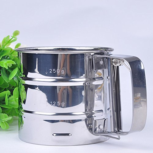 Newest Stainless Steel Mesh Flour Sifter Mechanical Baking Icing Sugar Shaker Sieve Tool Cup Shape Kitchen Tools F60JJ0281W#M1 by HappyChef