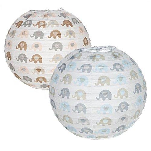 Dcasa - Pack 2 Pantalla papel para lampara de techo infantil elefantes .