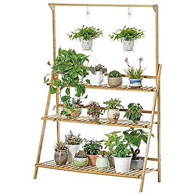 Bamboo 3-Tier Hanging Plant Stand Planter Shelves Flower Pot Organizer Storage Rack Folding Display Shelving Plants Shelf Unit Holder : Garden & Outdoor
