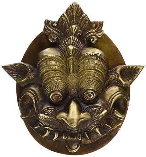 PARIJAT HANDICRAFT Door Knocker Brass Dragon Face Door Knocker with Plate Base