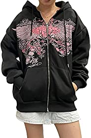 Women Man Goth Hoodie Sweatshirts Y2k Aesthetic Zip Up Jacket 90s Long Sleeve Graphic Coat Couple Top Streetwe
