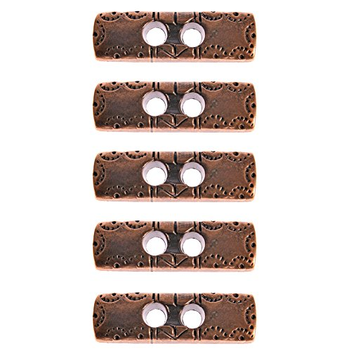 Mibo Zinc Diecasted Toggle 2 Counter Sunk holes Rectangular Shape with Western Pattern Antique Copper 38mm 3 Pack