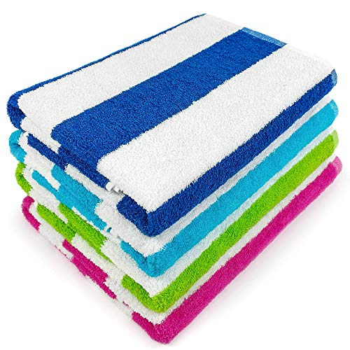 Extra Soft Large Beach Towel 32 x 62 inch 4 Pack Cabana Stripe Hotel Pool & Resort Style Terry 100% Cotton (4, Royal, Turquoise, Green, Pink)