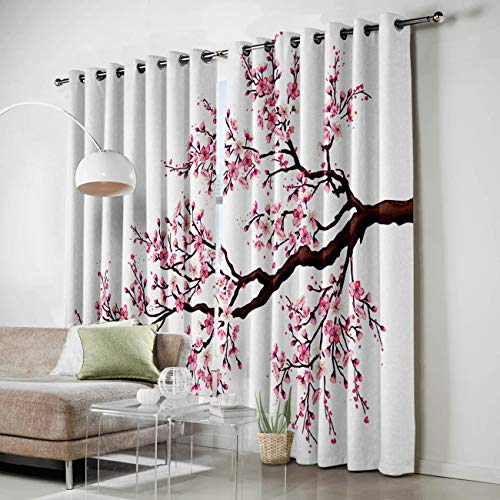 HomeCreator Window Blackout Curtains Pink Cherry Blossom Curtains Darkening Thermal Insulated Curtains for Living Room Bedroom Window Drapes Set of 2 Panels-27.5