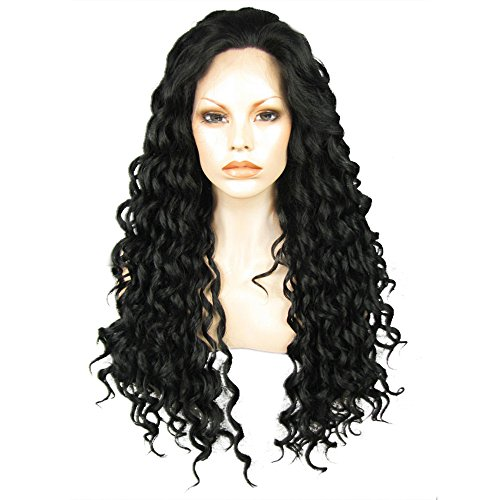 Ebingoo Long Black Curly Lace Front Wig for Women Natural Hairline Kinky Curly Glueless Synthetic Soft Heat Resistant Fiber Wigs