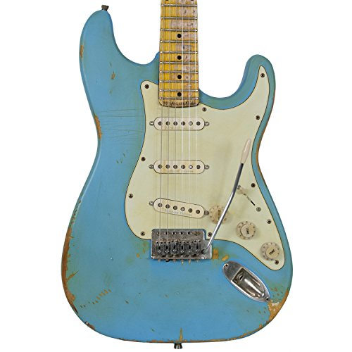 Sawtooth Americana Relic Series ES Electric Guitar with Pro Series Strat/Tele Body Style Hardcase, Classic Aero Blue with Aged Mint Green Pickguard