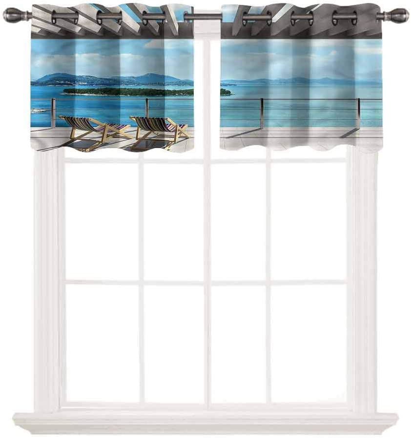 SoSung 3D Printed Window Cafe Bedroom Bathroom Valance,Beach Theme,Garden and Ocean View,for Kitchen Living Decor with Grommet Tier,W42 by L12,2 Panels