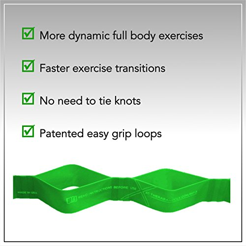 TheraBand CLX Resistance Band with Loops, Fitness Band for Home Exercise and Full Body Workouts, Portable Gym Equipment, Gift for Athletes, Individual 5 Foot Band, Green, Heavy, Intermediate Level 1 by TheraBand (Image #6)