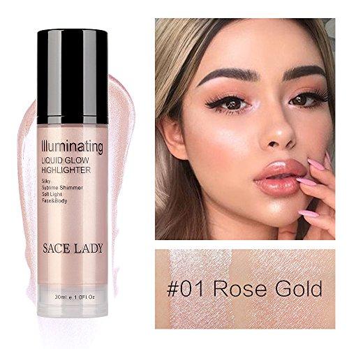 Hoshell 30ml Cosmetics High Beam Liquid Face Highlighter Foundation Makeup Shimmer Cream Facial Bronzer Contour (A)