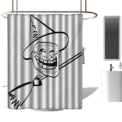 Shower Curtains Pink Roses Humor,Halloween Spirit Themed Witch Guy Meme LOL Joy Spooky Avatar Artful Image Print,Black and White,W55 x L84,Shower Curtain for Kids ()
