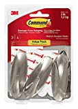 Command Designer Hooks CQXJ6, Medium, Brushed Nickel, 12 -Hooks
