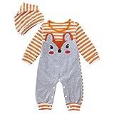 Oldeagle Infant Baby Girls Boys Long Sleeve Fox Print Stripe Romper Jumpsuit Stripe Hat 2PCs Baby Outfits (3-6M, Orange)