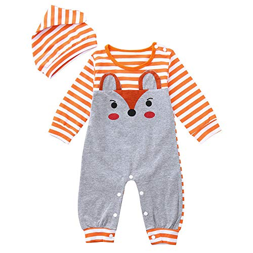 Infant Toddler Baby Girl Boy Fall Jumpsuit Clothes Long Sleeve Fox Print Romper Stripe Hat Outfits 3-24 Months (12-18 Months, Orange)