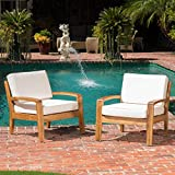 wood patio furniture GDF Studio Parma 4 Piece Outdoor Wood Patio Furniture Chat Set w/Water Resistant Cushions (Set of Two Chairs, Beige)