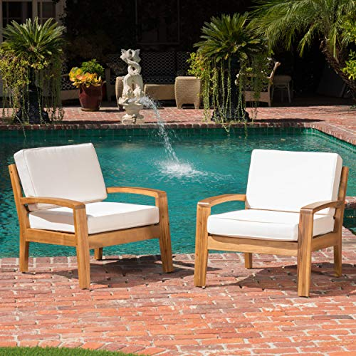 GDF Studio Parma 4 Piece Outdoor Wood Patio Furniture Chat Set w/Water Resistant Cushions (Set of Two Chairs, Beige)