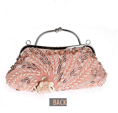 Womens Beaded Wedding Clutch Long Handmade Champagne with Bag Pulama Bridal 100 Handbag Chain rax6Uqr