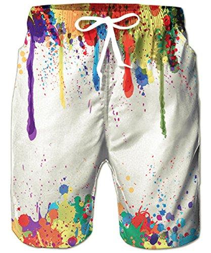 Mens Big & Tall Swim Trunks Colorful Rainbow Spatter Graffiti Beachwear Surfing Board Shorts Bathing Suits for Men Male Boy Quick Dry Swim Shorts with Mesh Lining,Medium,Spatter Paint ()
