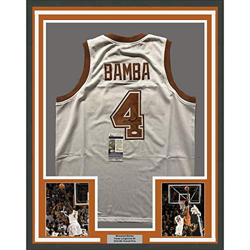 (Framed Autographed/Signed Mohamed Mo Bamba 33x42 Texas Longhorns White College Basketball Jersey JSA COA)