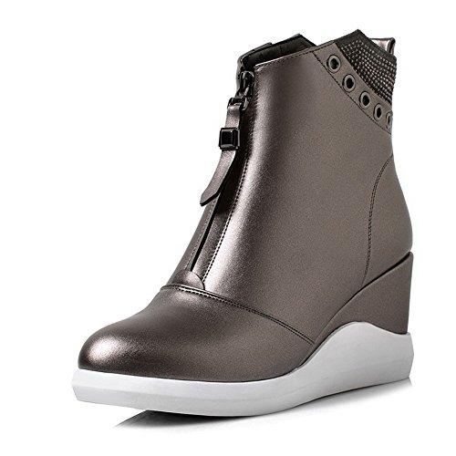 AllhqFashion Damen Stiletto Schließen Zehe Spitz Zehe Reißverschluss Stiefel, Weiß, 37
