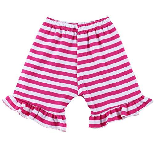 (Wennikids Baby Girl Stripe Cotton Ruffle Girl Shorts X-Large Hot Pink)