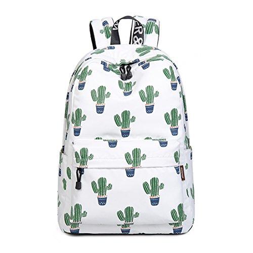 Teecho Girls Waterproof School Backpack Fashion 15.6 Laptop Backpack for Teenager Green Cactus