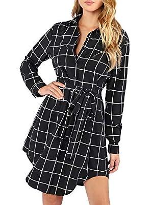 SheIn Women's Plaid Button up Tie Waist Shift Shirt Dress