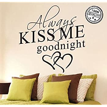 Wall Stickers Always Kiss Me Goodnight Wall Decal Word Wall Art Sticker  Home Decor For Bedroom Part 40