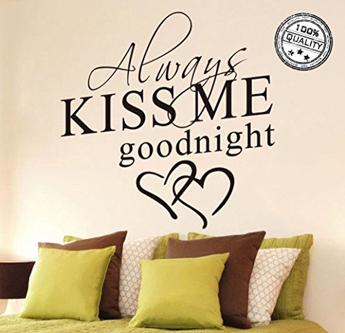 Wall Stickers Always Kiss Me Goodnight Wall Decal Word Wall Art Sticker Home Decor for Bedroom Living-room 26 X 18.11 in - Glasses For Word Fancy