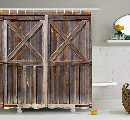 Ambesonne Rustic Shower Curtain, Old Wooden Barn Door of Farmhouse Oak Countryside Village Board Rural Life Photo Print, Fabric Bathroom Decor Set with Hooks, 70 Inches, Brown ()