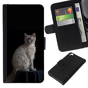 Laperm Cat Curly Hair Blue Eyes Cat - la tarjeta de Crédito Slots PU Funda de cuero Monedero caso cubierta de piel HTC Desire 820