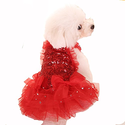 [Bonawen Bling Puppy Tutu Dress Princess for Small,Medium,Large Dogs (Red,XL)] (Princess Tiny Feet Costume)