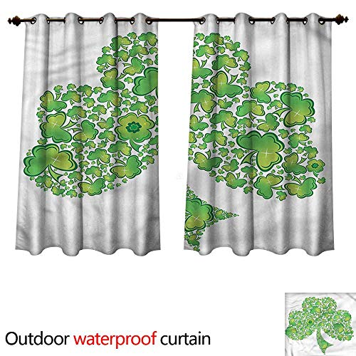 cobeDecor Celtic Home Patio Outdoor Curtain Irish Shamrock Clover Figure W72 x L63(183cm x 160cm)
