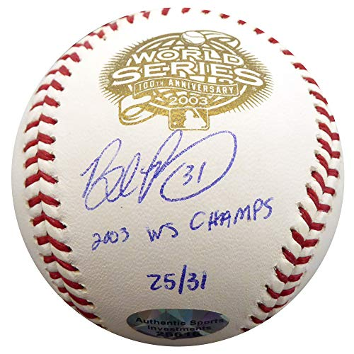 Brad Penny Signed Auto 2003 World Series Baseball Florida Marlins 2003 WS Champs #25/31 - Beckett Authentic
