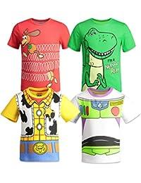 Pixar Toy Story Boys 4 Pack T-Shirts Woody Buzz Lightyear Rex Slinky Dog