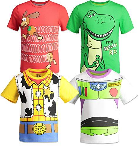 Disney Pixar Toy Story Boys 4 Pack T-Shirts Woody Buzz Lightyear Rex Slinky Dog 6
