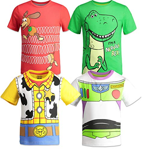 Disney Pixar Toy Story Big Boys 4 Pack T-Shirts Woody Buzz Lightyear Rex Slinky Dog 10