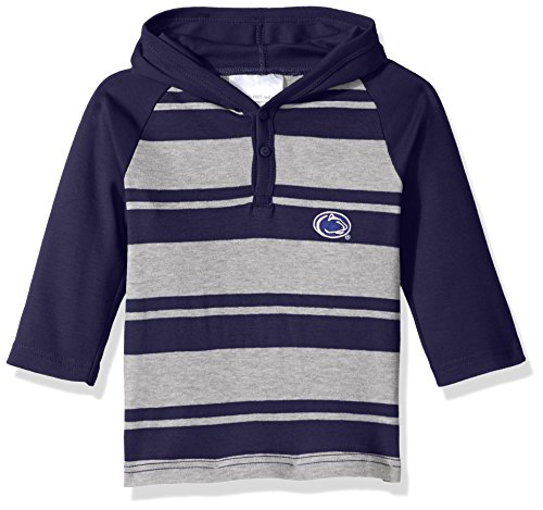 Two Feet Ahead NCAA Penn State Nittany Lions Toddler Boys Rugby Long Sleeve Hooded Shirt, Size 4, Navy/Heather (Shirt Rugby Lions)