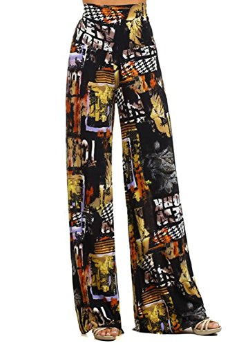 Fashiondio Women's New Print Fold Over Palazzo Pants