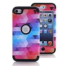 iPod Touch 6 Case, iPod Touch 5 Case, KAMII [Colorful Series] 3in1 Shockproof Full-Body Protective Hard PC+Soft Silicone Hybrid Hard Case Cover for Apple iPod Touch 5 6th Generation (Black)
